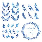 Set of watercolor wreaths, laurels, branches, leaves. Hand painted elements for design. Aquarelle frame. Vector templates.