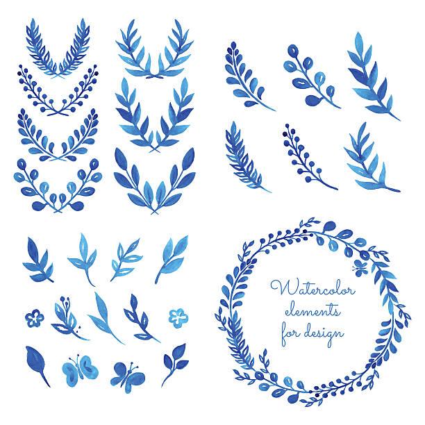 illustrazioni stock, clip art, cartoni animati e icone di tendenza di set di acquerello wreaths e coroncine di alloro. - farfalla ramo