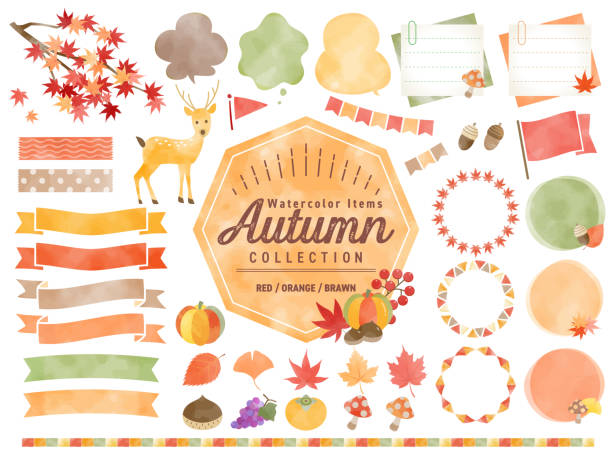 Set of watercolored seasonal autumn frames / Maple , red leaves, Pumpkin / for Labels, Badges, Icons, Banners etc. Set of watercolored seasonal autumn frames / Maple , red leaves, Pumpkin / for Labels, Badges, Icons, Banners etc. autumn symbols stock illustrations