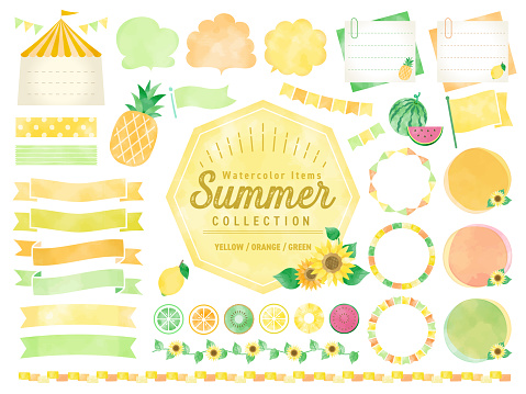 Set of watercolored seasonal summer frames / Sunflower , Pineapples, Lemmon / for Labels, Badges, Icons, Banners etc.