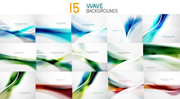 Set of wave abstract business backgrounds Set of wave abstract business backgrounds, blurred smooth wavy line bundle stock illustrations