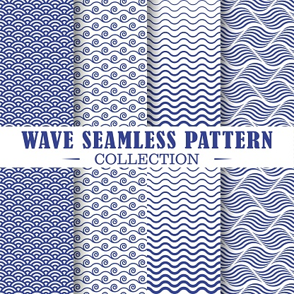 Set of wave and nautical patterns.