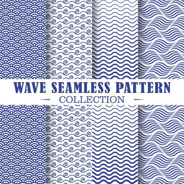 Set of wave and nautical patterns. Seamless set of wave and nautical patterns. Vector shapes design illustration. Patterns for stationery, package design, background,wallpaper, textile, web texture. Scrap booking paper. sea stock illustrations