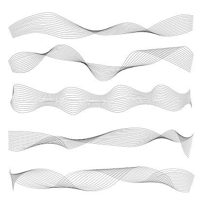 Set of Wave Borders. Wavy Lines, Symbols, Sinuous Curves
