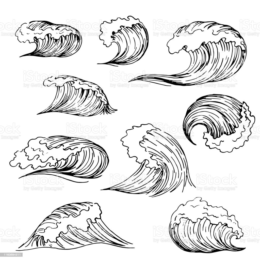 Set Of Wave Drawing Stock Illustration - Download Image ...Waves Drawing Tattoo