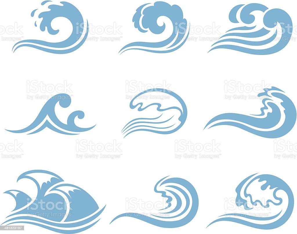 Set of waves vector art illustration