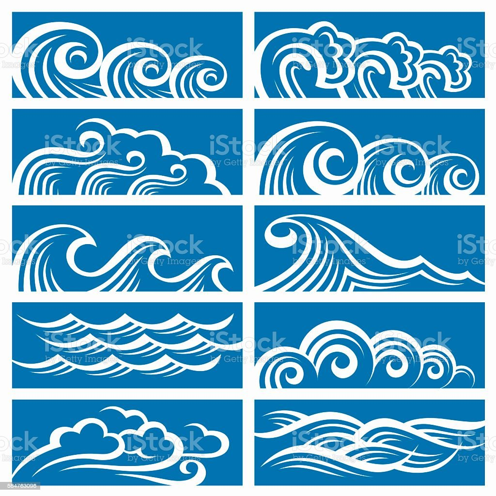 set of waves vector art illustration