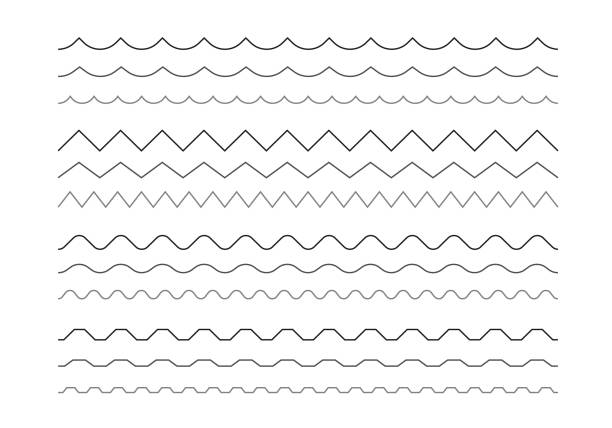 Set of wavy and zigzag horizontal lines Set of wavy and zigzag horizontal lines zigzag stock illustrations