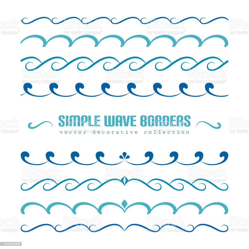 Ensemble d'ornements de bordure ondulée et fioritures - Illustration vectorielle
