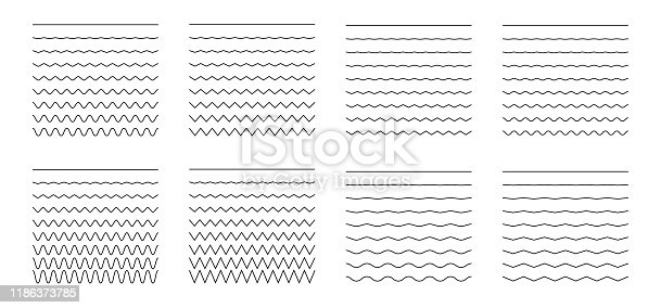 Vector collection of different thin line wave isolated on white background. Big set of wavy - curvy and zigzag - criss cross horizontal lines. Graphic design elements variation solid line
