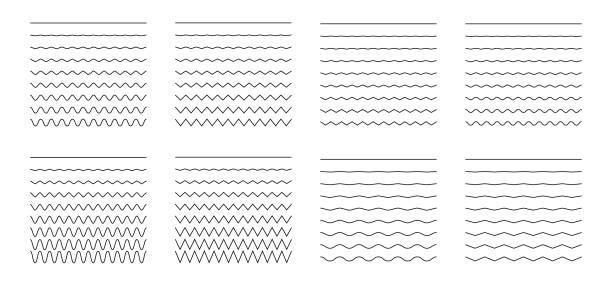 zestaw falisty - krzywego i zygzak - krzyżuje się po liniach poziomych - linia stock illustrations