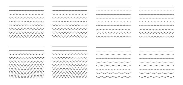set of wavy - curvy and zigzag - criss cross horizontal lines - lineart stock illustrations