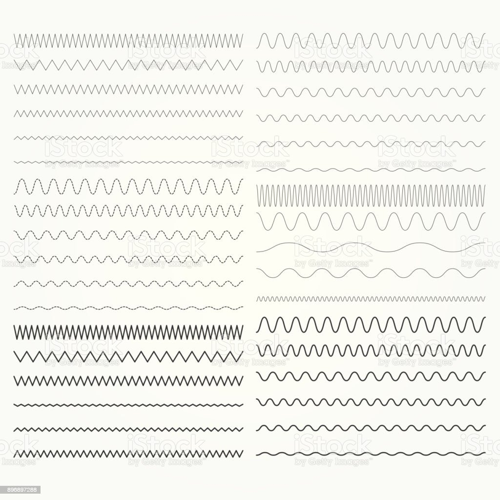 Set of wavy lines  - zigzag and squiggly borders collection vector art illustration