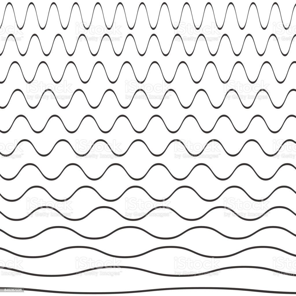 Set of wavy pattern vector art illustration