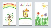 Child`s painting pastel chalk lines and design elements, vector.