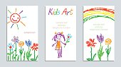 Set of wax crayon like kid`s drawn colorful cards with hand drawing flowers, rainbow, sun, girl on white.