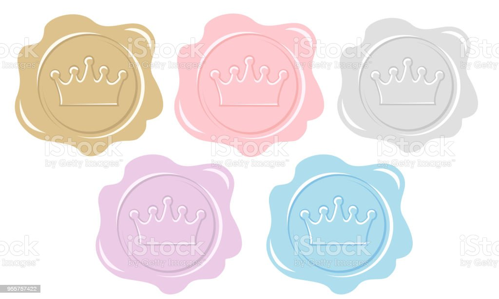 Set Of Wax Seal Icons Element Of Design For Royal Party Invitation