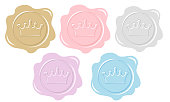 Set of wax seal icons. Element of design for royal party invitation card. Princess or prince letter.