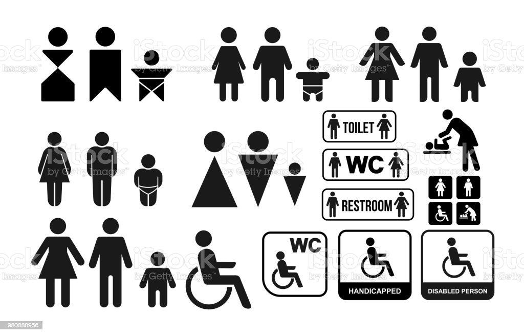 Set Of Wc Sign For Restroom Toilet Door Plate Icons Men And Women