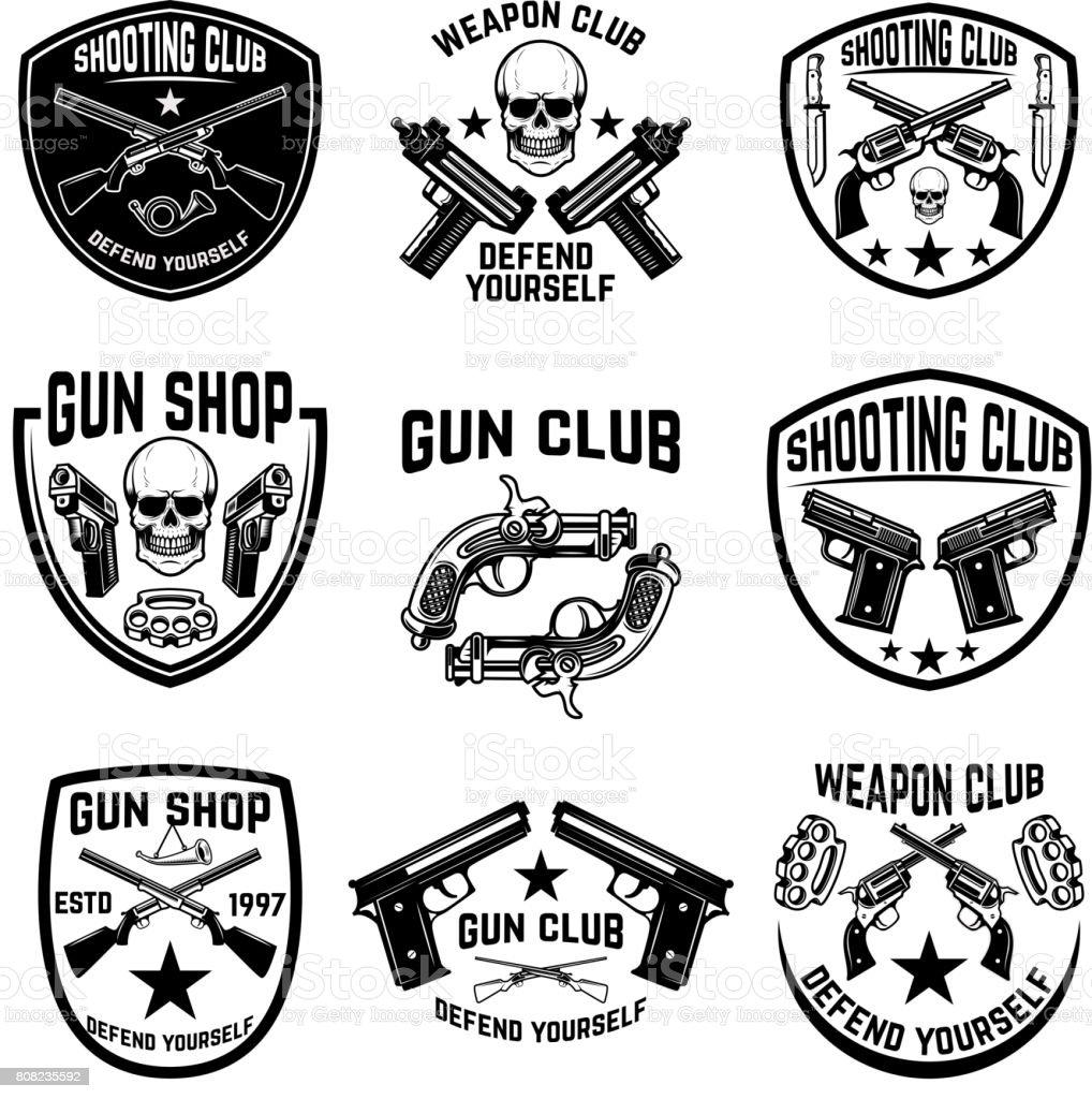 Set of weapon club, gun shop emblems. Labels with handguns. Vector illustration vector art illustration