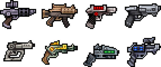 Set of weapon icons in pixel style Set of weapon icons in perfect pixel art style. Rifle, pistol, assault rifle, assault rifle, blaster, laser and other fantastic weapons. For your games, retro, business design. Vector clip art decorative laser cut set stock illustrations