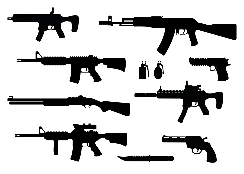 Set of weapon military rifle, revolver and desert eagle pistol, shotgun carbine, grenade, knife and submachine gun black simple icon vector illustration, isolated of white. Self defense firearms.