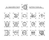 Set of wearable technology icons