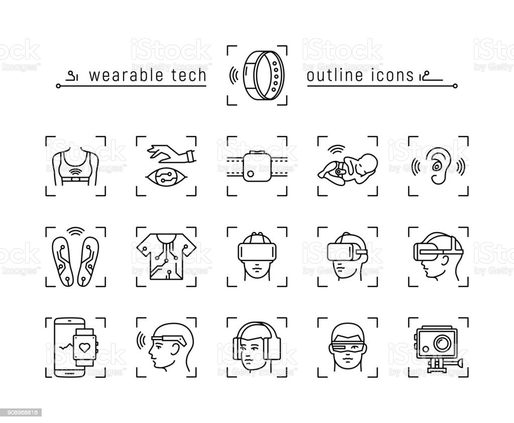 Set of wearable technology icons vector art illustration