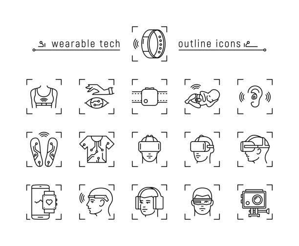 stockillustraties, clipart, cartoons en iconen met set van wearable technologie pictogrammen - gopro
