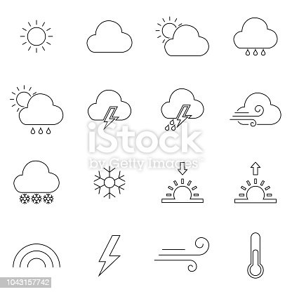 Set Of Weather Forecast Vector Line Icons Contains Symbols Of The