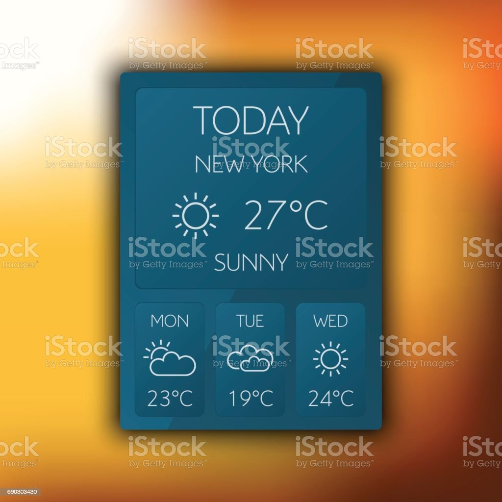 Set Of Weather Icon Weather Widget Vector Illustration Stock