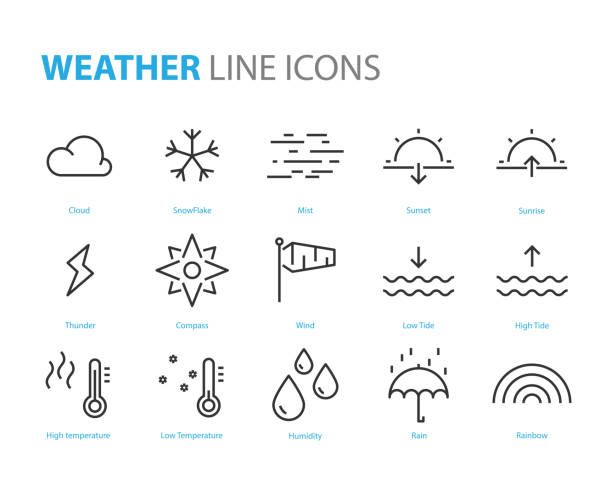 set of weather icons, cloudy, night, sunny, rainny, thunderstorm, day, mist set of weather icons, cloudy, night, sunny, rainny, thunderstorm, day, mist tide stock illustrations