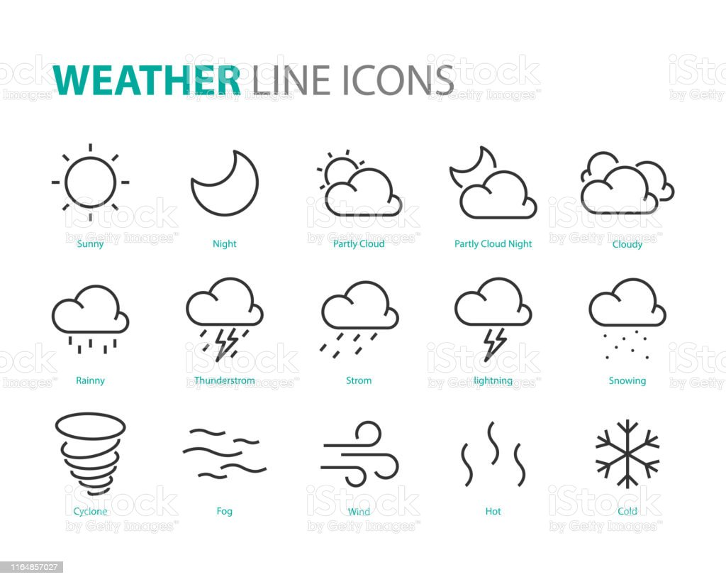 set of weather icons, cloudy, night, sunny, rainny, thunderstorm,...