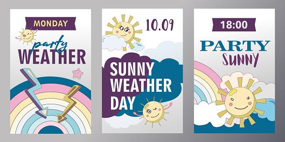 Set of weather invitation cards cartoon vector illustration