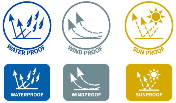 Set of weather resistance icons. Water wind and sun proof signs in circle and rounded square, can be used on textiles vector art illustration