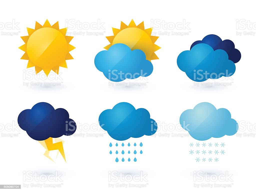 set of weather vector icons vector art illustration