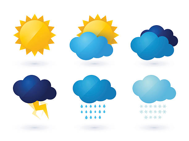 set of weather vector icons - rain stock illustrations, clip art, cartoons, & icons