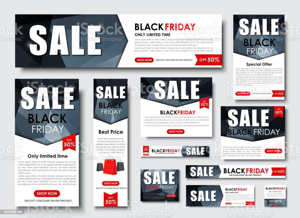 Set of web banner for Black Friday sales, standard sizes set of web banner for black friday sales standard sizes - stockowe grafiki wektorowe i więcej obrazów abstrakcja royalty-free
