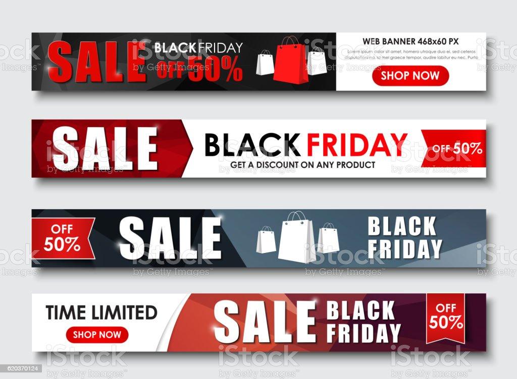 Set of web banner for sales on Black Friday set of web banner for sales on black friday - arte vetorial de stock e mais imagens de black friday royalty-free