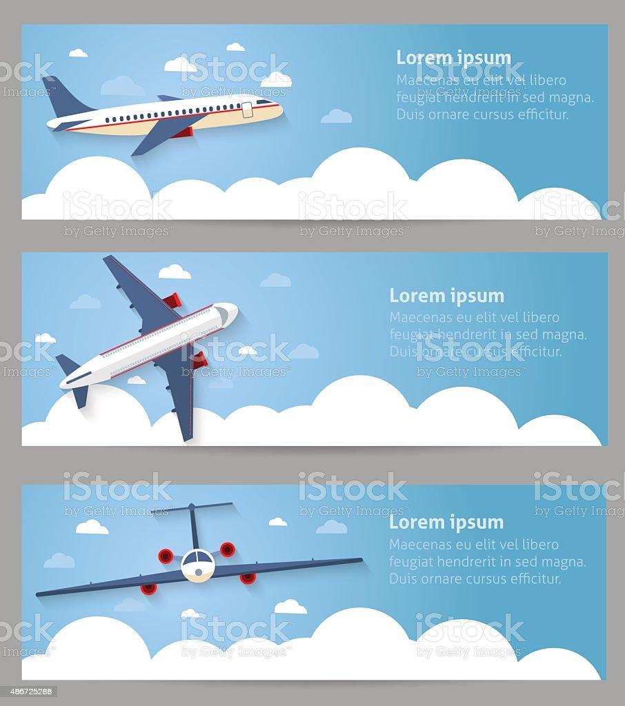 Set of web banners. Flight of the plane vector art illustration
