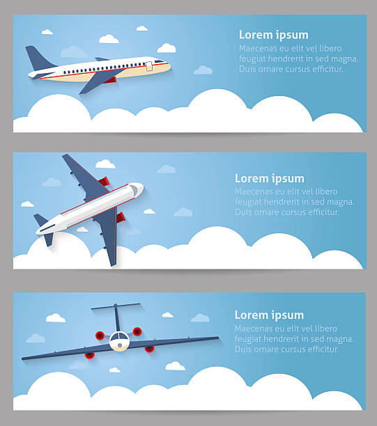 Set of web banners. Flight of the plane Set of web banners. Flight of the plane in the sky. Passenger planes, airplane, aircraft, flight, clouds, sky, sunny weather. Color flat icons. Vector illustration aviation and environment summit stock illustrations