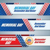 Set of web banners for Memorial day
