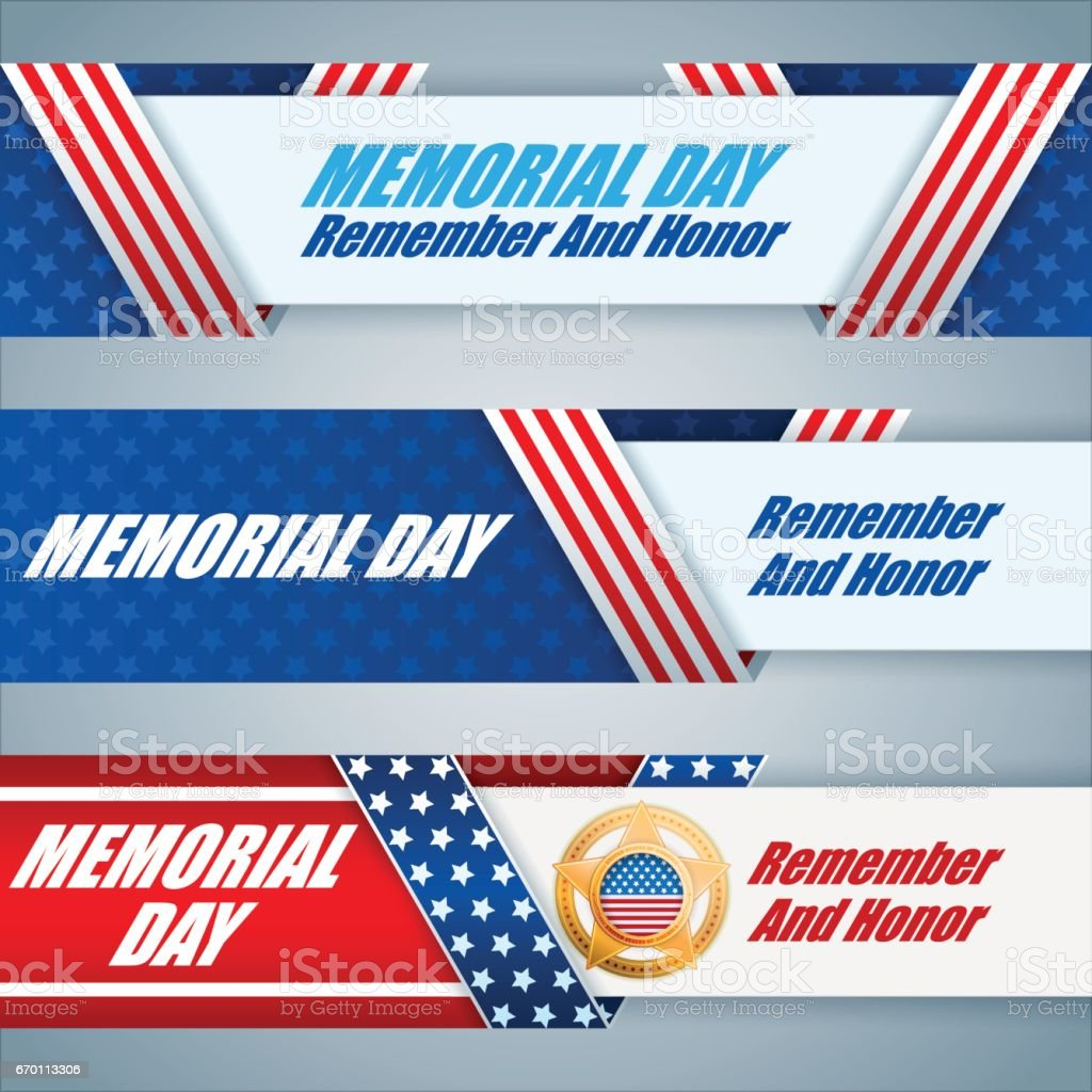 Set of web banners for Memorial day vector art illustration