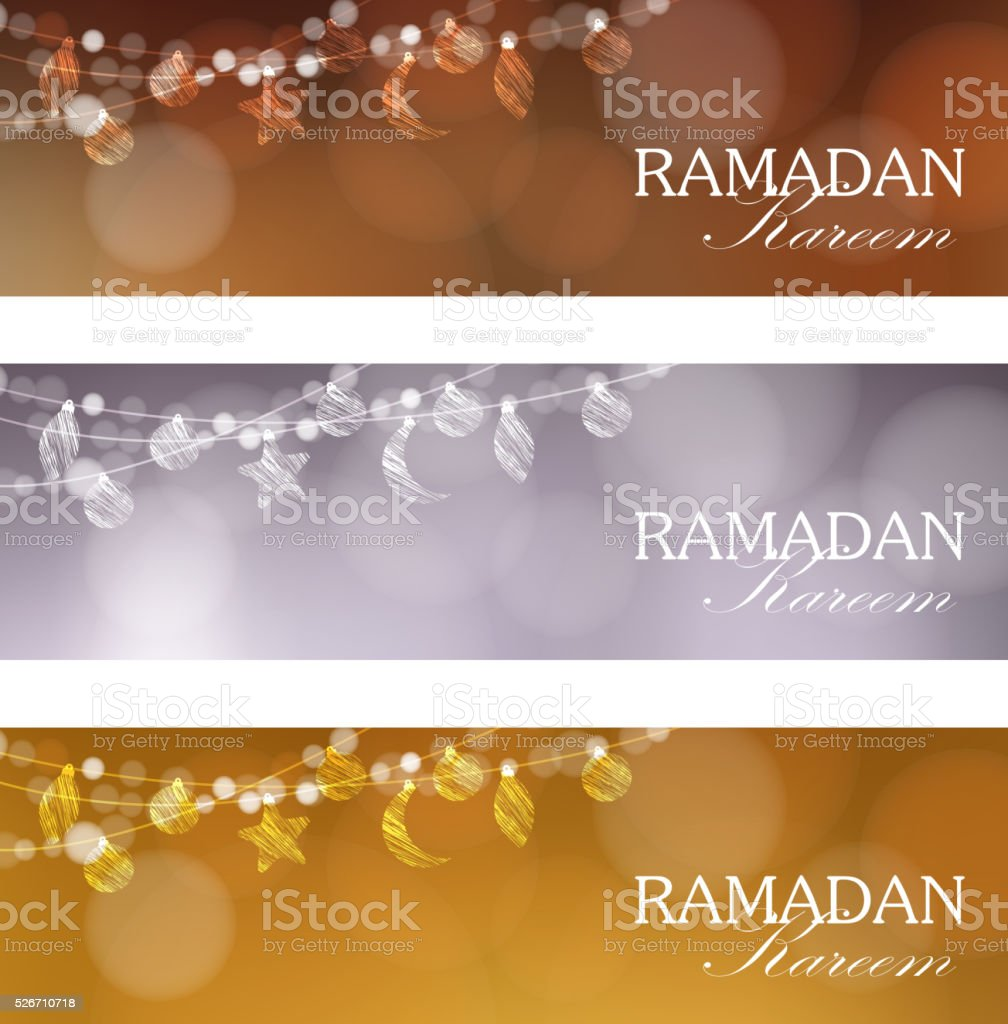 Set of web banners for muslim holy month Ramadan Kareem. vector art illustration