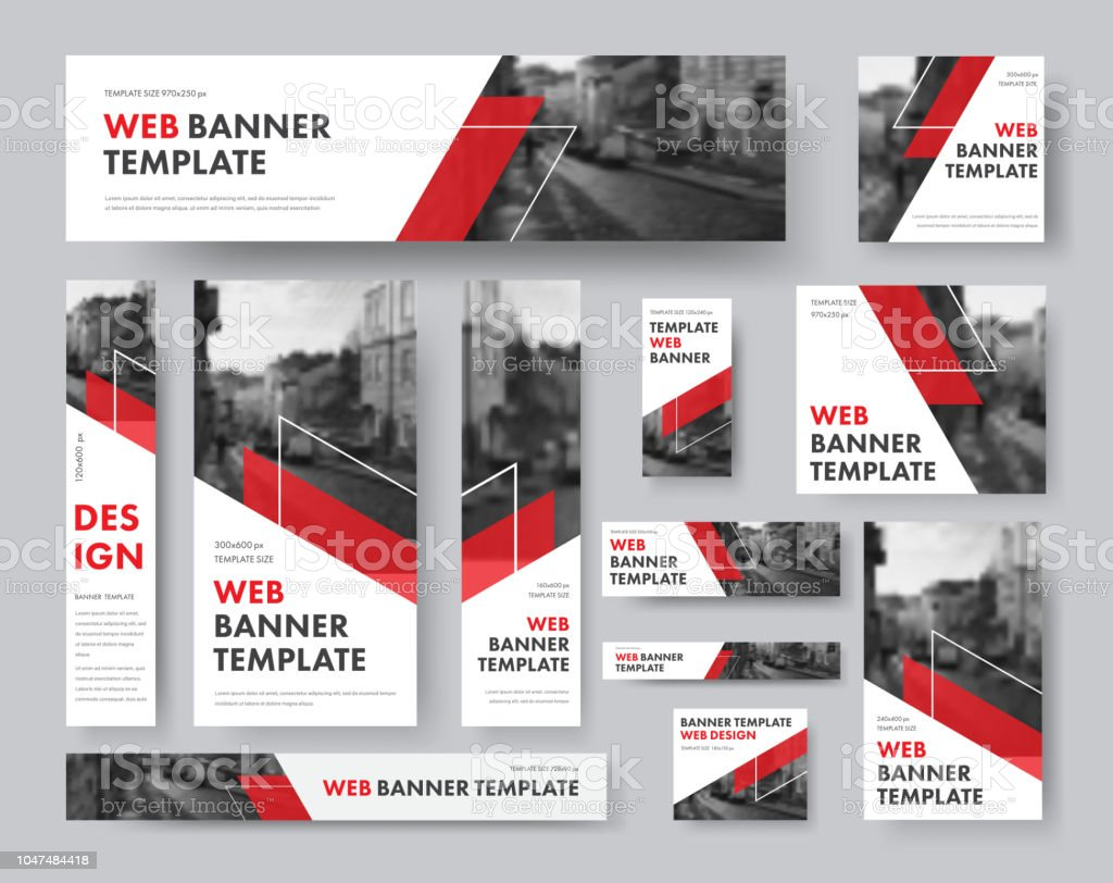 Satz von Web-Banner in verschiedenen Größen mit diagonalen roten Elementen und ein Ort für Fotos. – Vektorgrafik