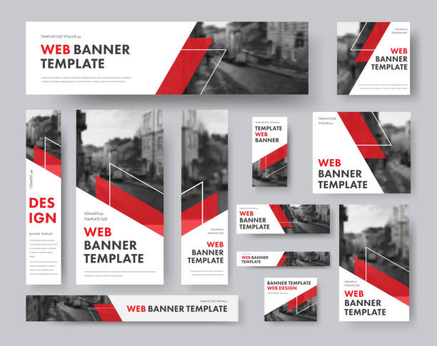 set of web banners of different sizes with diagonal red elements and a place for photos. - сбор stock illustrations