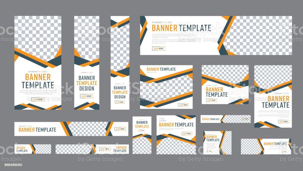 Satz von Web-Bannern der Standardgröße mit einem Platz für Fotos – Vektorgrafik