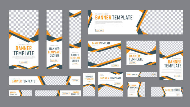 set of web banners of standard size with a place for photos - banner ads templates stock illustrations