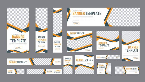 ilustrações, clipart, desenhos animados e ícones de conjunto de banners web de tamanho padrão com um lugar para fotos - templates de logotipo