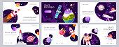 Set of web banners templates. Presentation. Cartoon modern design. Black holes. Space explore. Children vector illustration. Science.
